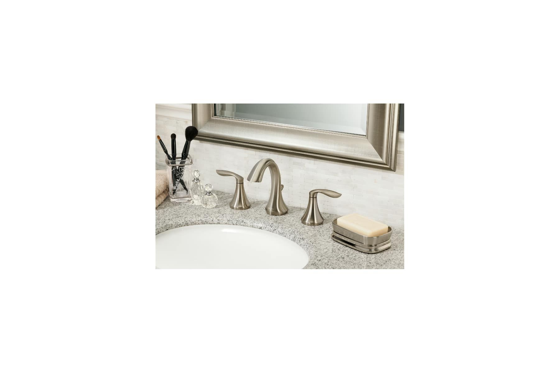Moen T6420 Eva 1 2 Gpm Deck Mounted Bathroom Faucet With Pop Up Plug Less Drain Brushed Nickel Faucet Bathroom Sink Faucets Double Handle Bathroom Faucets Brushed Nickel Faucet Faucet