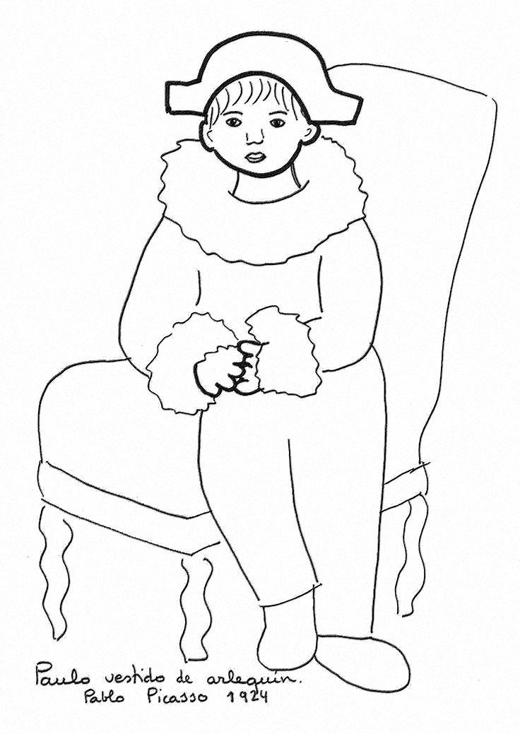 Coloriage Paul En Arlequin.Paul En Habit D Arlequin P Picasso Interpretacia Umelecky Diel