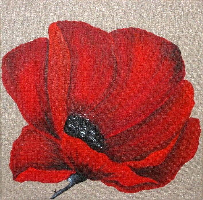 2 peintures de coquelicots sur toile de lin art flowers acrylics and doodles for Peinture acrylique sur toile