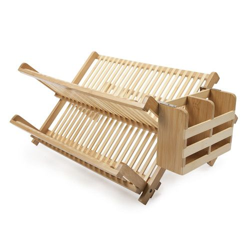Wood Collapsible 2 Tier Dish Rack Bamboo Dishes Dish Racks