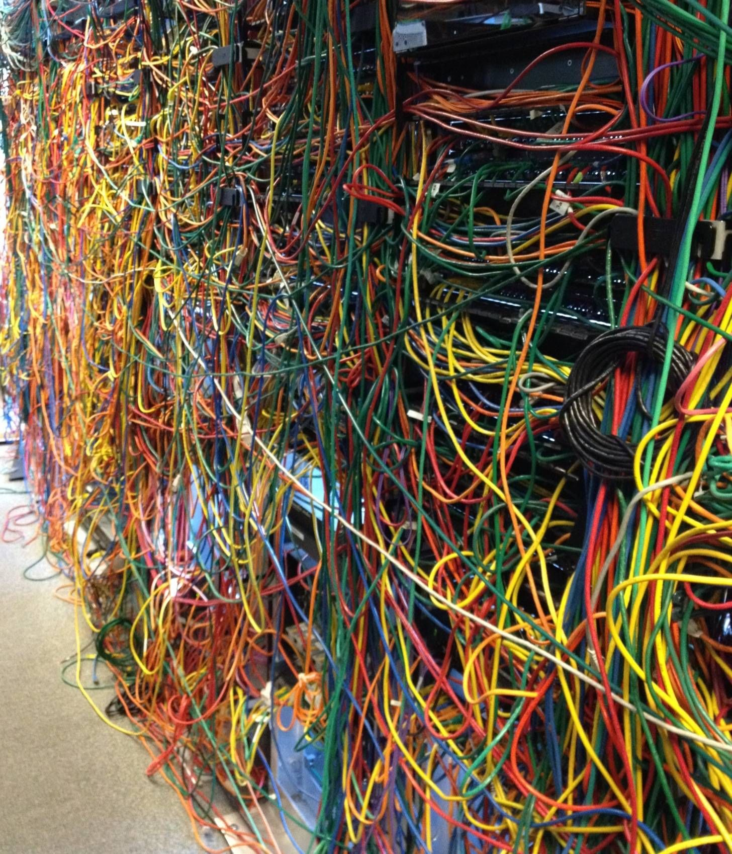 A network mess or cable art you decide server room