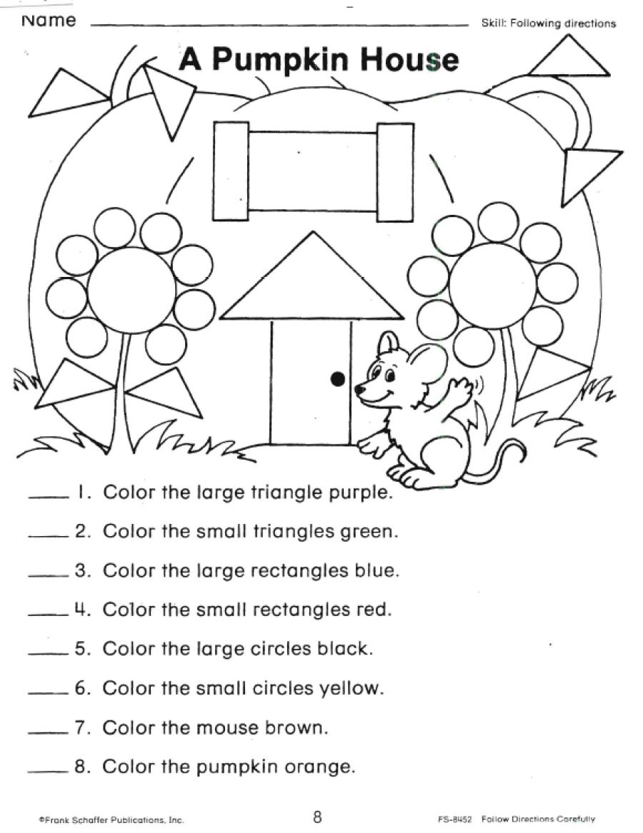 worksheet Following Directions Worksheet Preschool a pumpkin house shape worksheet more