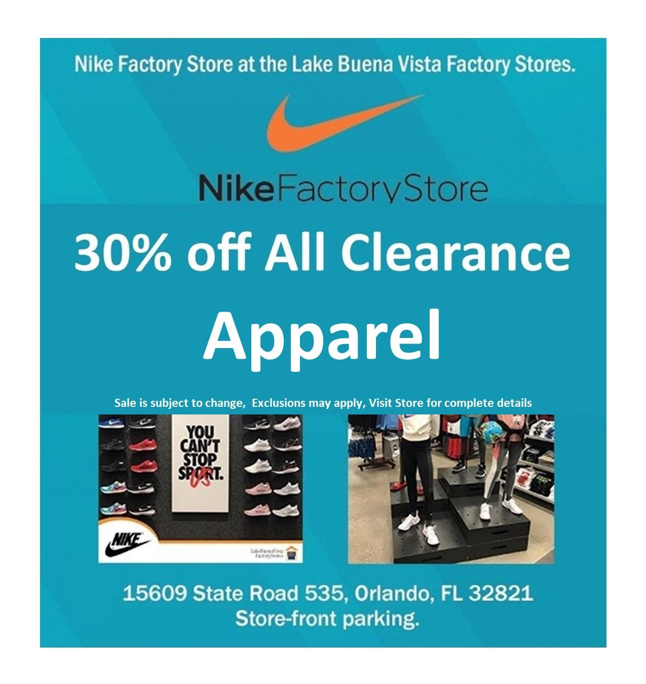 Shop Nike Factory Stores And Take 30 Off Select Clearance Apparel Exclusions May Apply Sale Is Subject To Change Visit In 2021 Nike Factory Factory Store Shopping