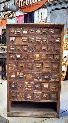 56 Drawer Vintage Oak Apothecary Seed Cabinet Cupboard - Huge ...
