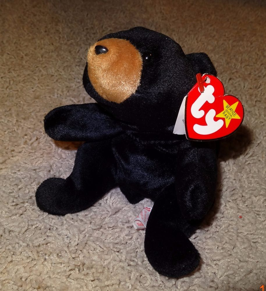 448fd40462c TY Beanie Baby Blackie Black Bear PE Pellets 1994 Heart Tag 1993 Tush Tag -  TH  Ty