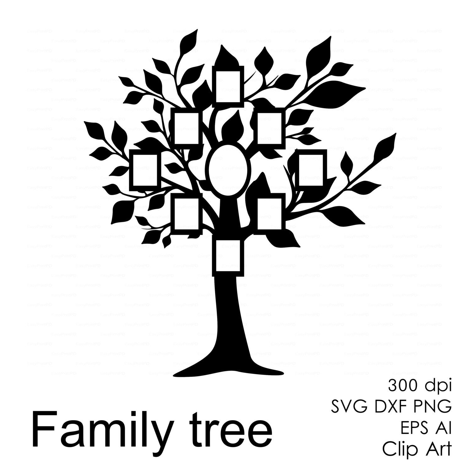 Family tree frame svg dxf ai eps png Clipart от