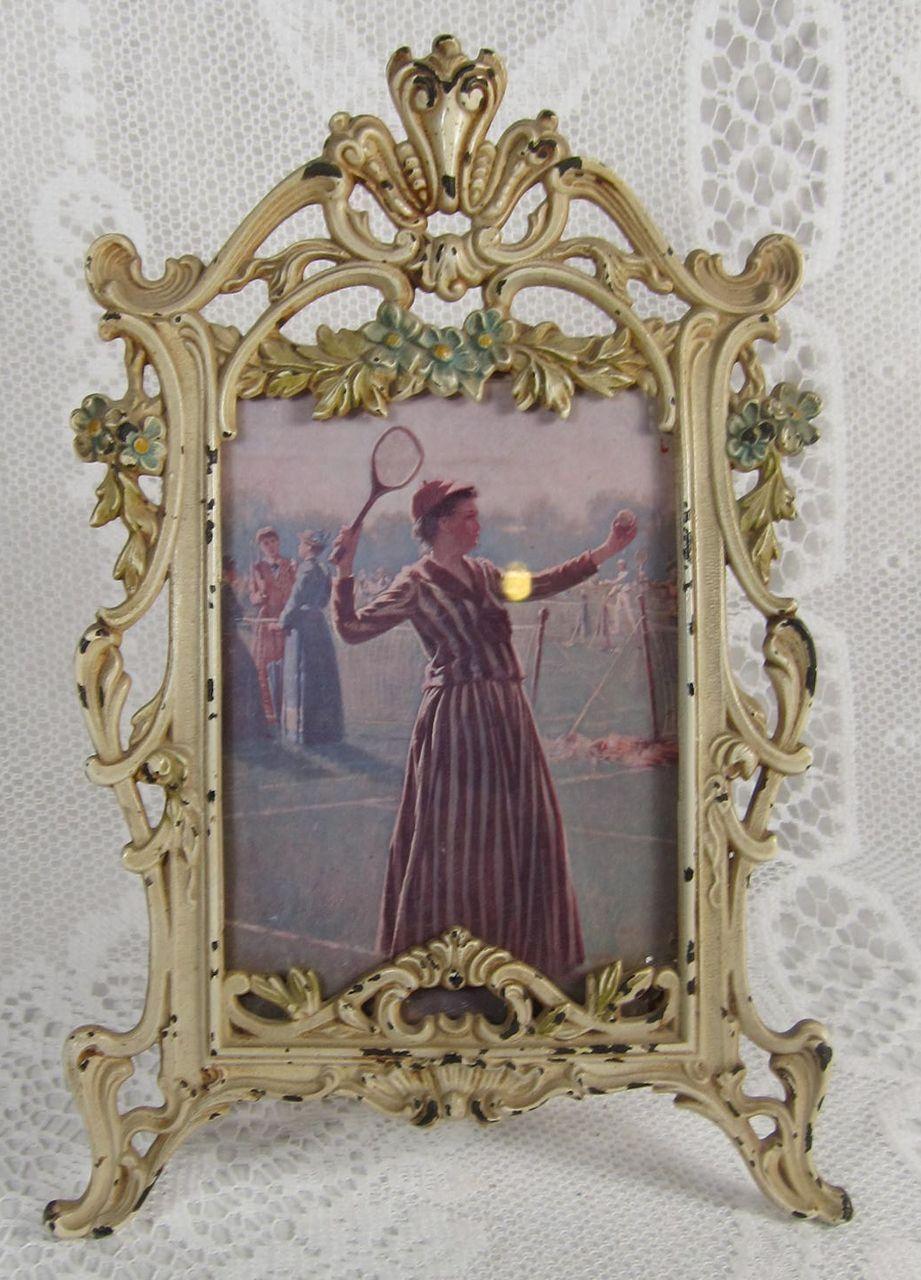 Late victorian art nouveau cast iron metal picture frame enameled late victorian art nouveau cast iron metal picture frame enameled flowers ornate curvy old white enamel jeuxipadfo Choice Image