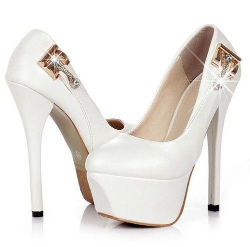 Womens Decorative Diamante Buckle Stiletto Heeled Platform Wedding Court Shoes