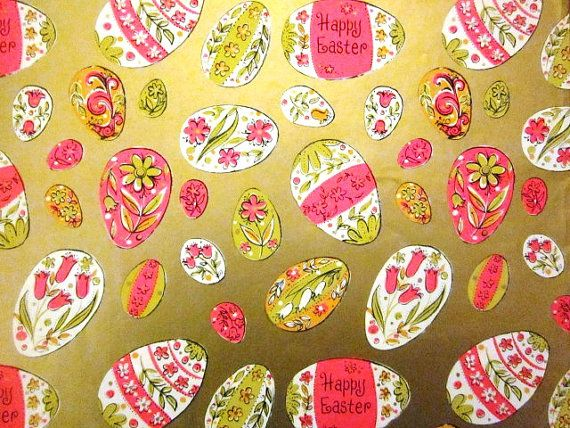 Vintage wrapping paper easter egg collection by tillahomestead vintage gift wrapping paper happy easter paper metallic gold pink and white eggs by hallmark 1 unused full sheet easter gift wrap negle Image collections