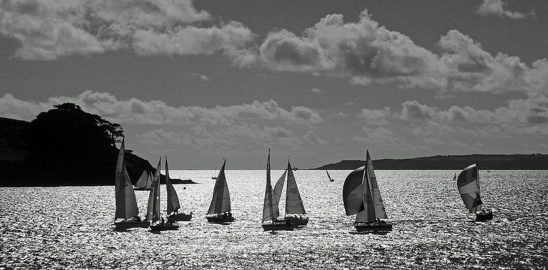 Silhouette of Sailing in St. Mawes