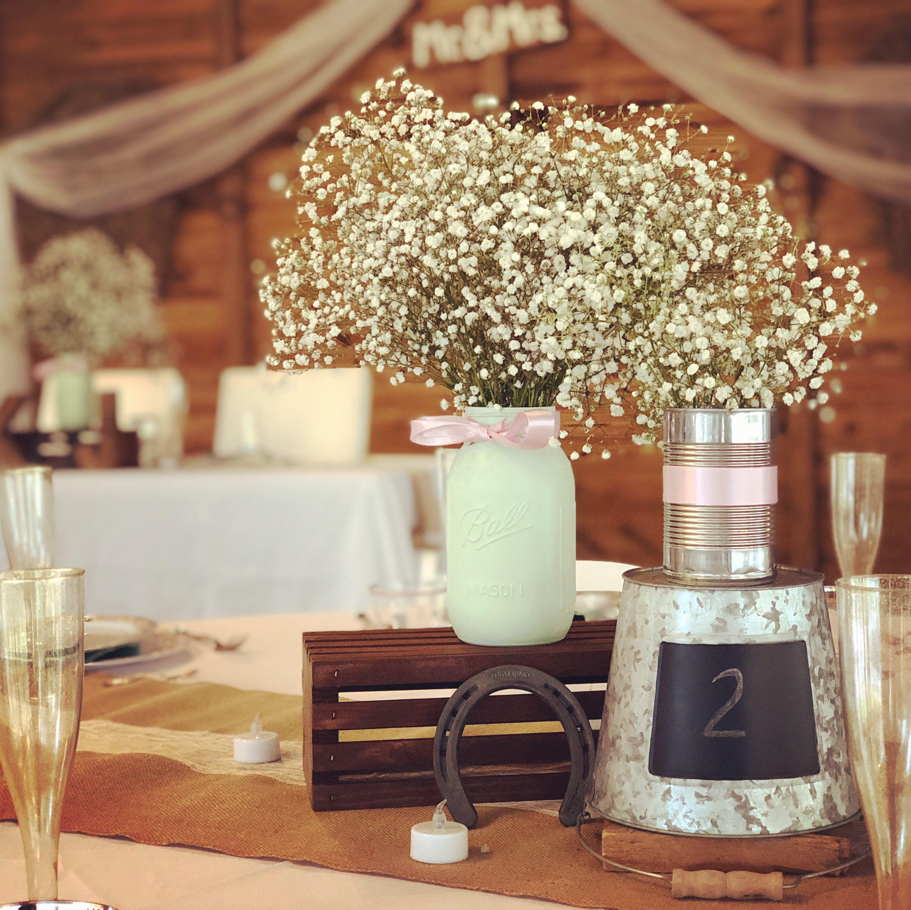 Horseshoe Mason Jar Centerpiece Country Wedding Decorations
