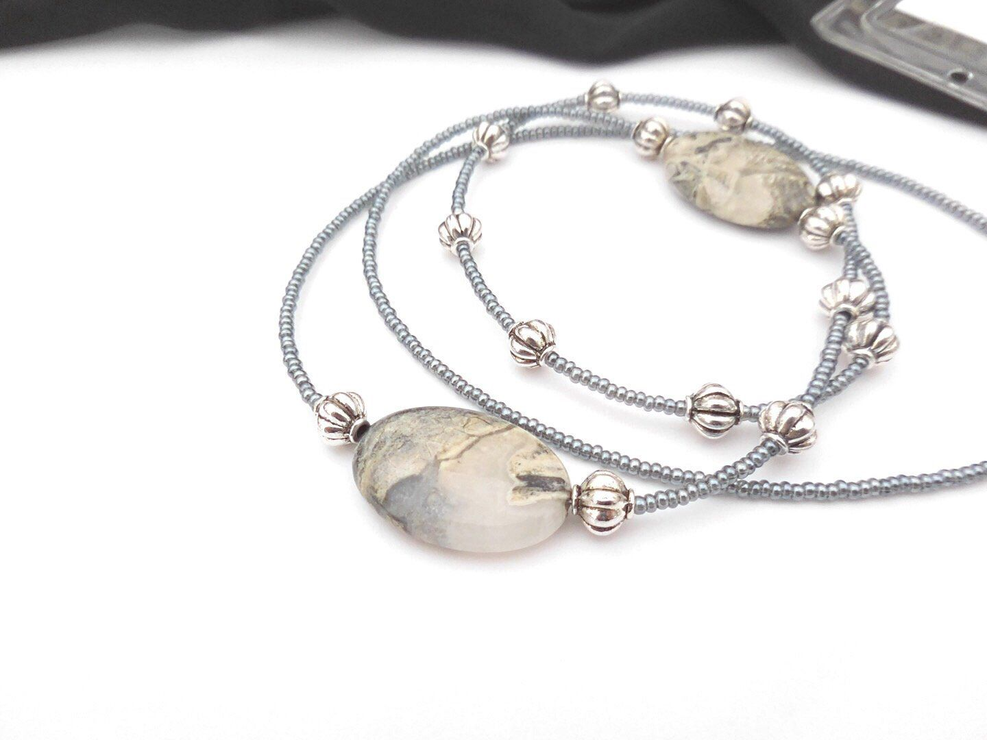 Fancy jasper lanyard necklace with id card holder silver
