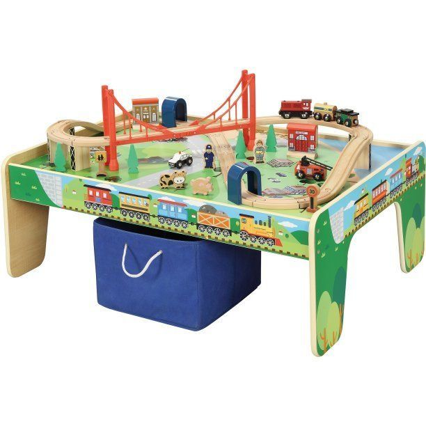 Train Table Wooden 50 Piece Train Set Kids Play Table Wood Gift Toy  Educational #WoodenTrainTableUSA