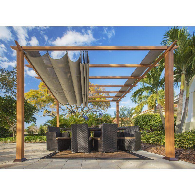 Sol 72 Outdoor Tyne 132 W X 132 D Metal Pergola With Canopy Wayfair Pergolas De Aluminio Patio Pergola Planos De Pergola