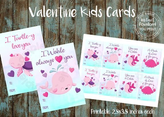 Printable Ocean Valentine Cards Kids Valentine Cards School
