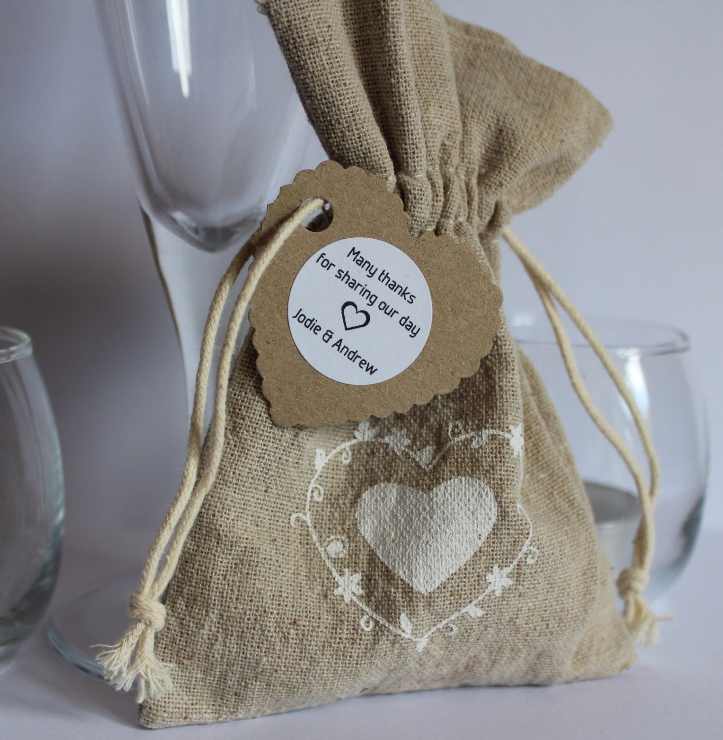 Large Natural Hessian Favour Bags With A Personalised Tag X 10 By Eventhemes On Etsy Https