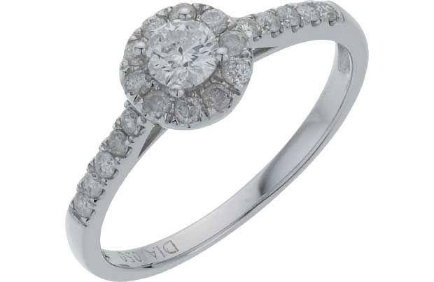 18ct White Gold Round Diamond Halo Ring Size O