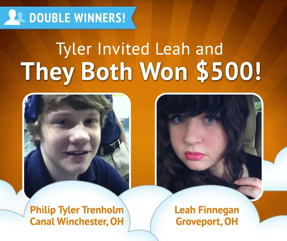 Here's another #DoubleWinner pair!  Leah won... and since Philip Tyler referred her, he won too! Congrats!
