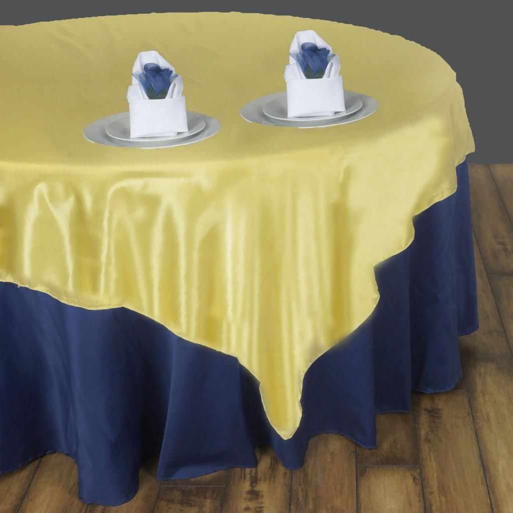 90 Yellow Satin Overlay Seamless Square Table Overlays Beautiful Dining Room Table Beautiful Dining Rooms Table Cloth