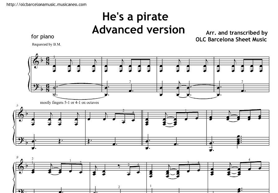 He S A Pirate Piano Solo Arrangement From Pirates Of The Caribbean