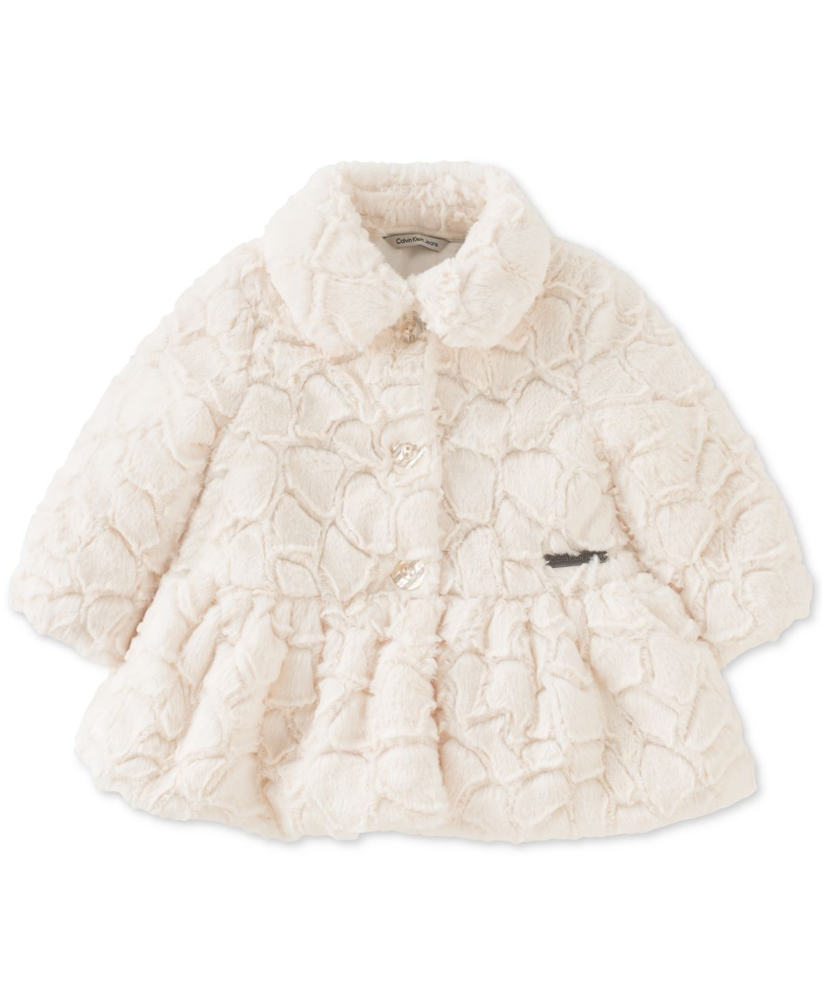 Calvin Klein Baby Girls Embossed Faux Fur Coat Reviews Coats Jackets Kids Macy S White Faux Fur Coat Fur Coat Peplum Coat