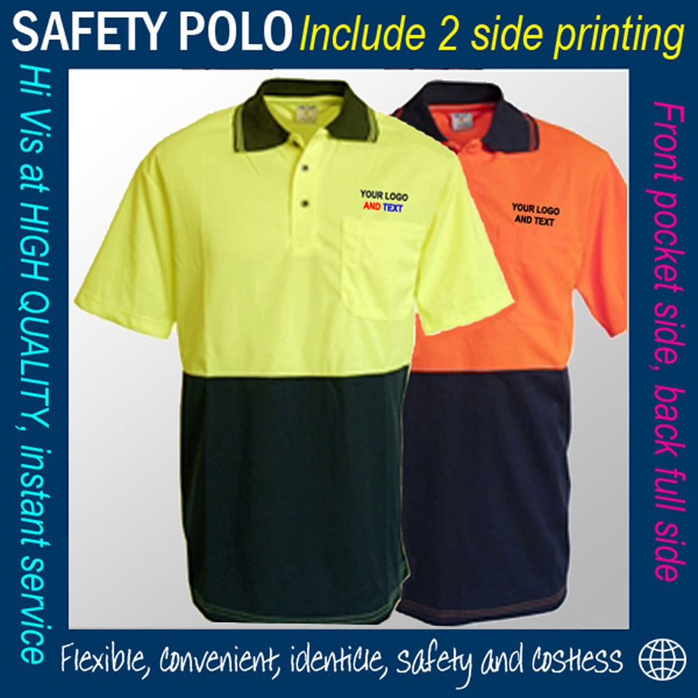 Ebay Sponsored Hi Vis Cool Dry Safety Polo Shirt Print Custom Logo