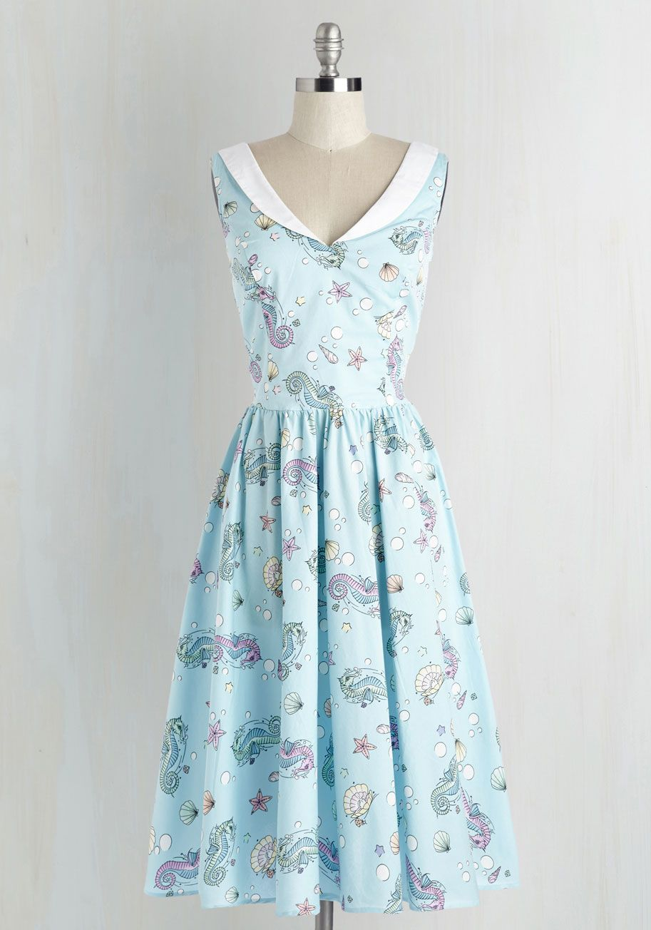 In The Oceanic Of Time Dress Mod Retro Vintage Dresses Modcloth Com Vintage Dresses Retro Vintage Dresses Everyday Dresses [ 1304 x 913 Pixel ]