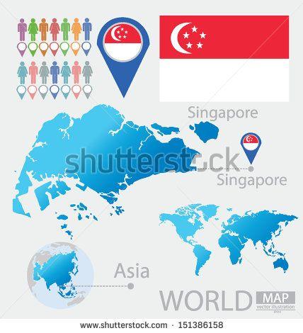 Republic of singapore flag asia world map vector illustration republic of singapore flag asia world map vector illustration gumiabroncs Images