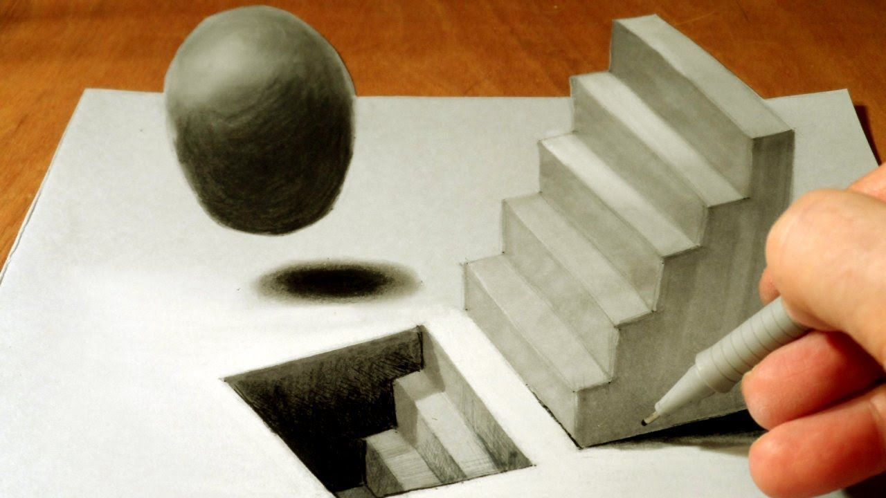 Anamorphic Illusion, Drawing 3D Staircase, Time Lapse | Optical ...