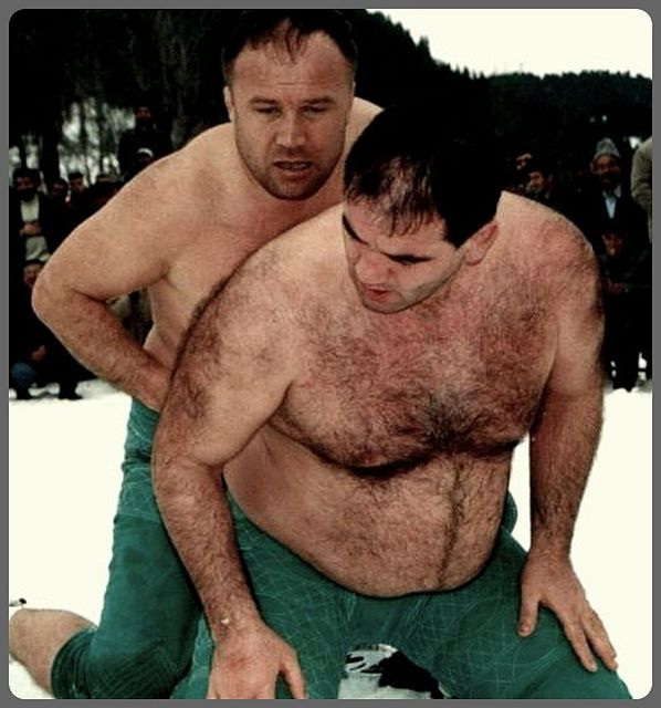 Hairy men wrestling