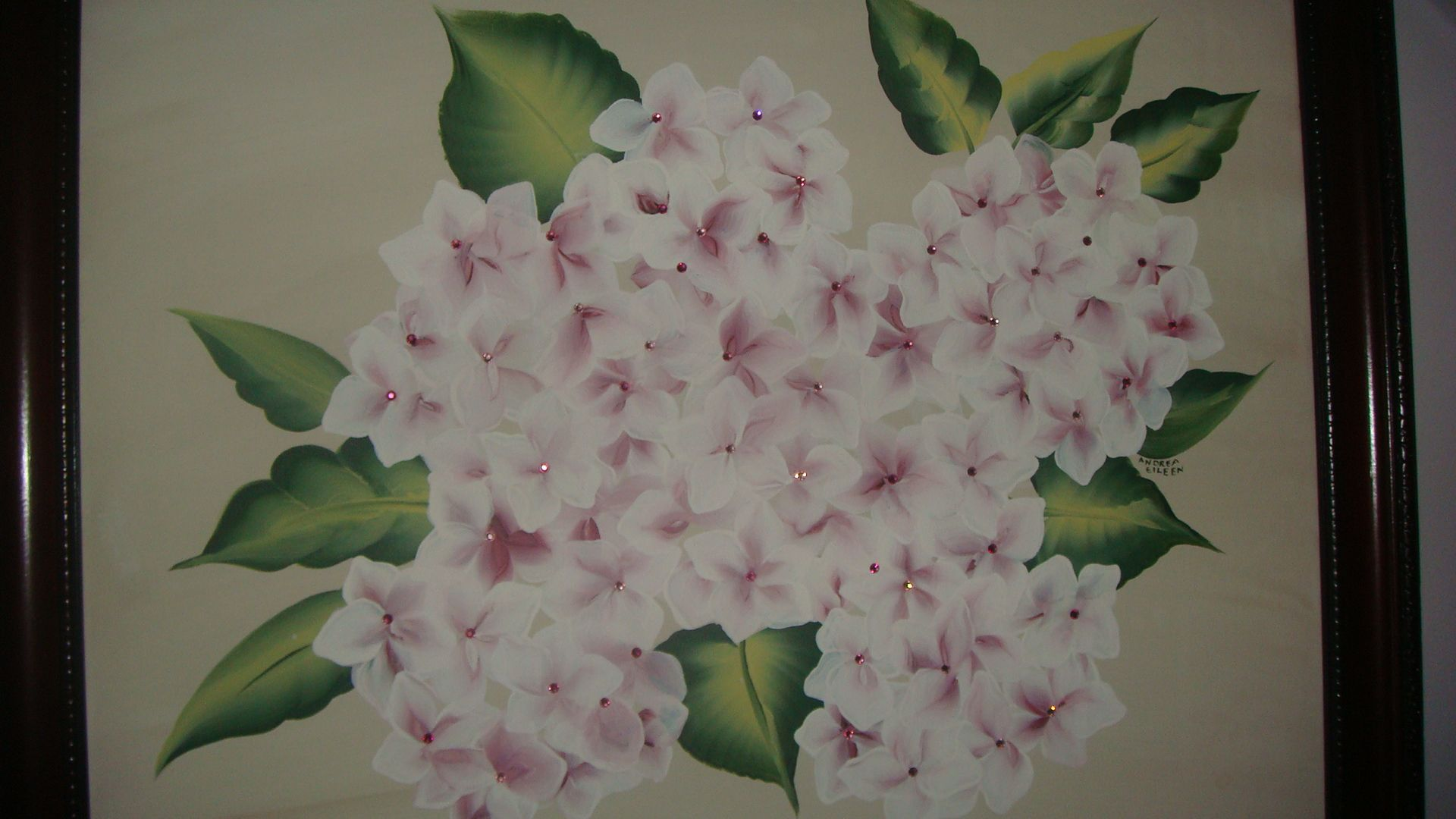 hydrangeas with crystal centers