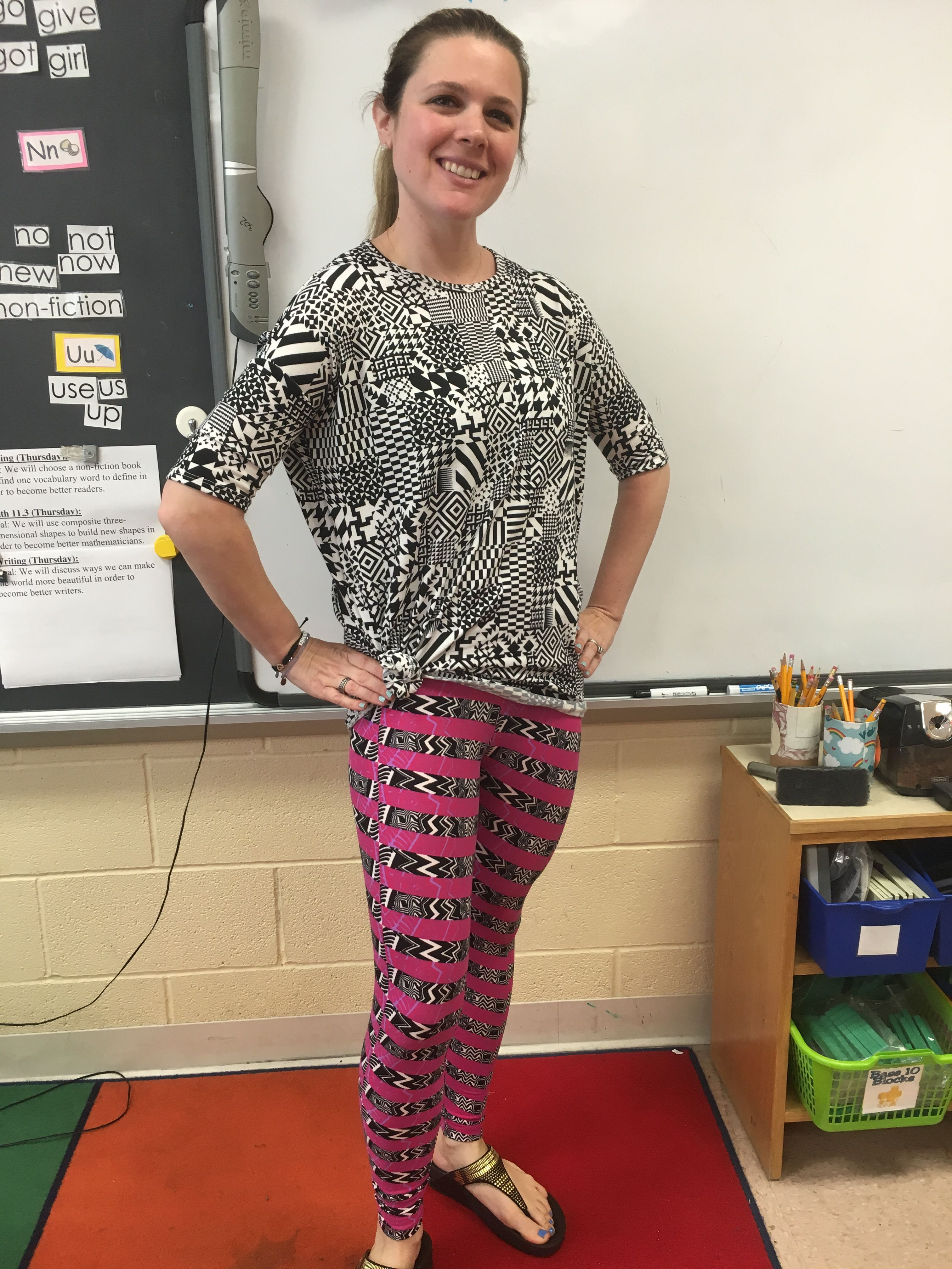 7a4fa7f1319320 Pattern mixing is one of my passions with LuLaRoe! I've got my Irma tunic  tied on the side with my buttery soft leggings! As a teacher, pattern mixing  is ...