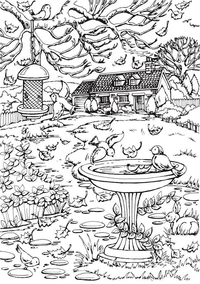 From creative haven autumn scenes coloring book dover publications