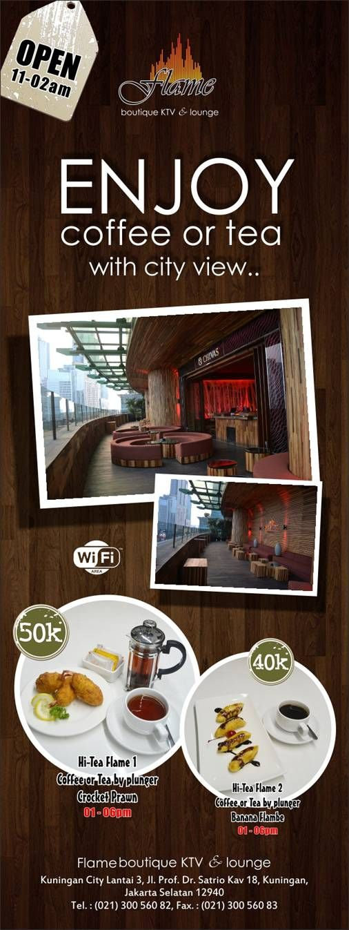 Enjoy Coffee or Tea with City View at FLAME Boutique KTV & Lounge