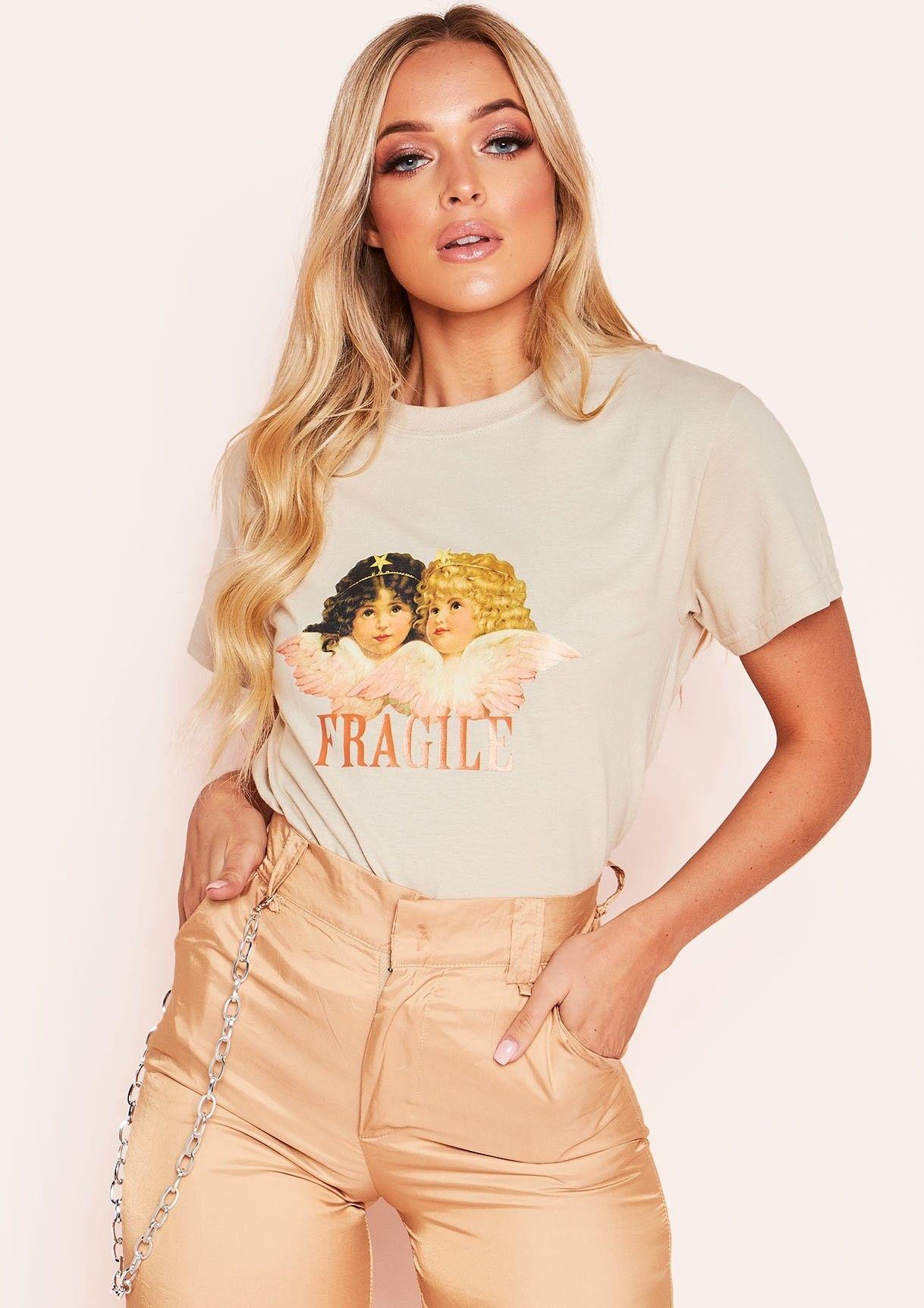 9ebdb2c2511d Missyempire - Gina Sand Fragile Graphic T-Shirt | ⚡ step up ...