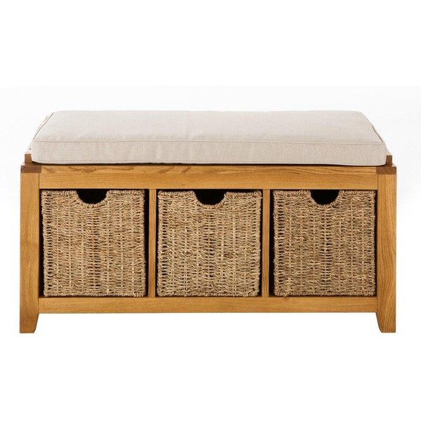 London Ready Assembled Oak Hallway Storage Bench ($225) ❤ Liked On Polyvore  Featuring Home
