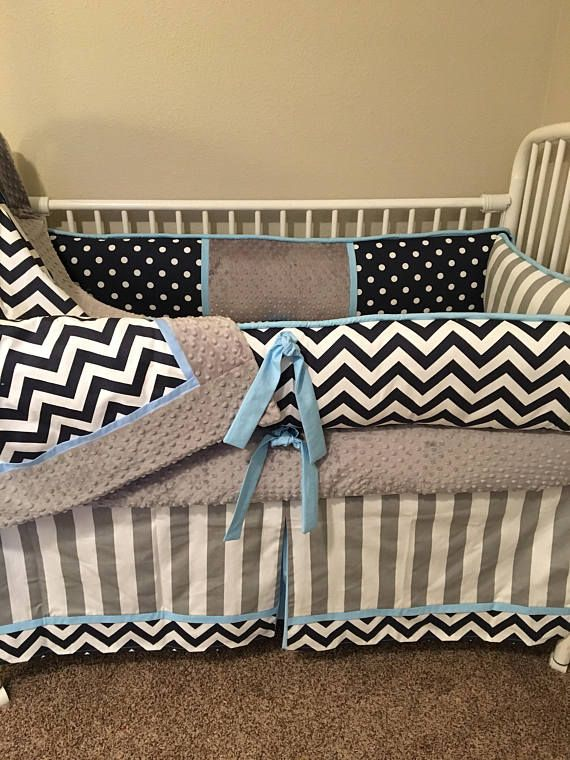 Navy Chevron Gray Baby Blue Boy Custom Baby Bedding Bumper Pad Etsy Custom Baby Bedding Baby Bed Grey Baby