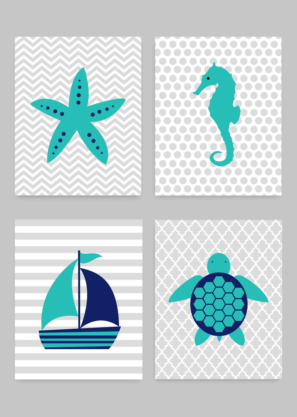 Baby Nautical Nursery Wall Decor Sailboat Sea Turtle