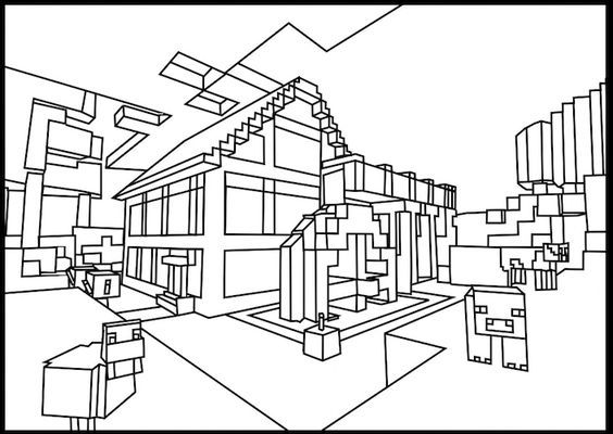 Download Or Print The Free Minecraft Home Coloring Page And Find Thousands Of Other Minecraft Hom Minecraft Coloring Pages Coloring Pages House Colouring Pages