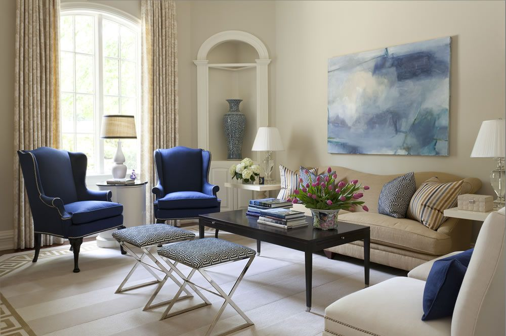 Superieur Morgan Harrison Home   Living Rooms   Wingback Chairs, Blue Wingback Chairs,  Fireplace Seating, Floor To Ceiling Fireplace, Stone Fireplace,.