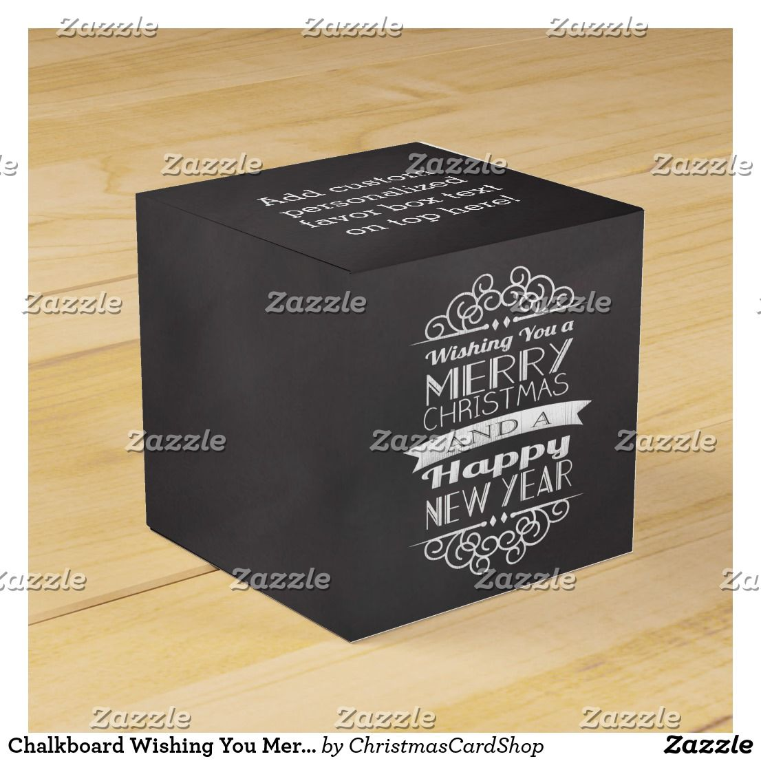 chalkboard wishing you merry christmas favor box