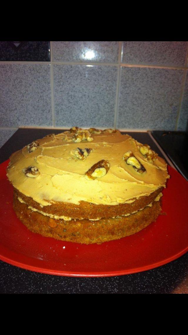 Home made coffee walnut cake