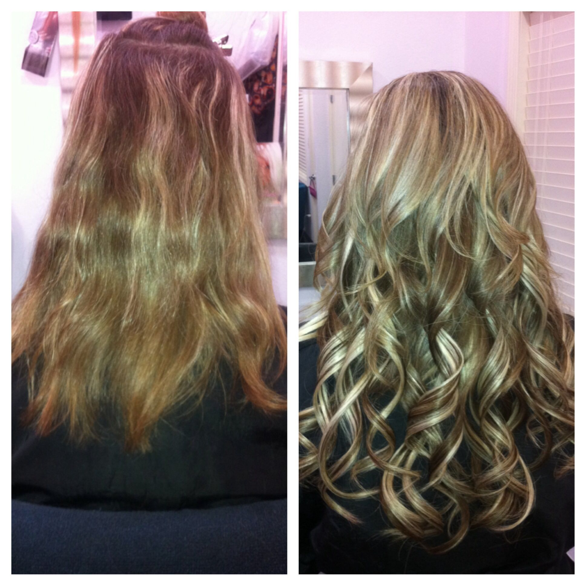 Before after aqua seamless tape extensions haircandy