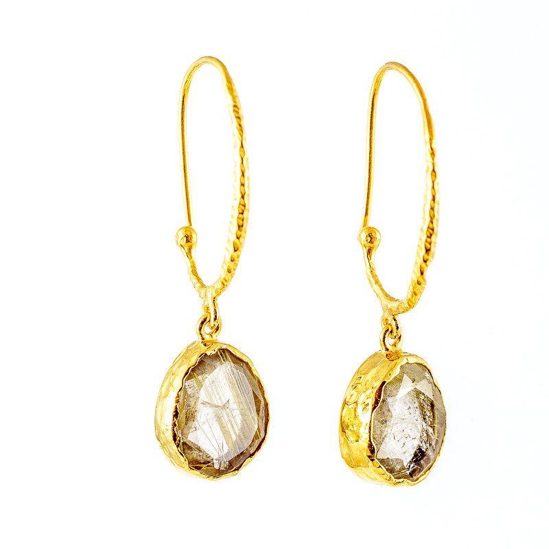 Rutile Quartz gemstone gold plated sterling silver earrings by pebblesandchance on Etsy https://www.etsy.com/listing/471804074/rutile-quartz-gemstone-gold-plated
