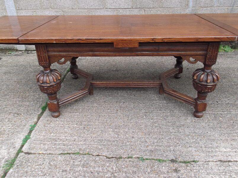 Antique Oak Refectory Table Large Jacobean Drawleaf