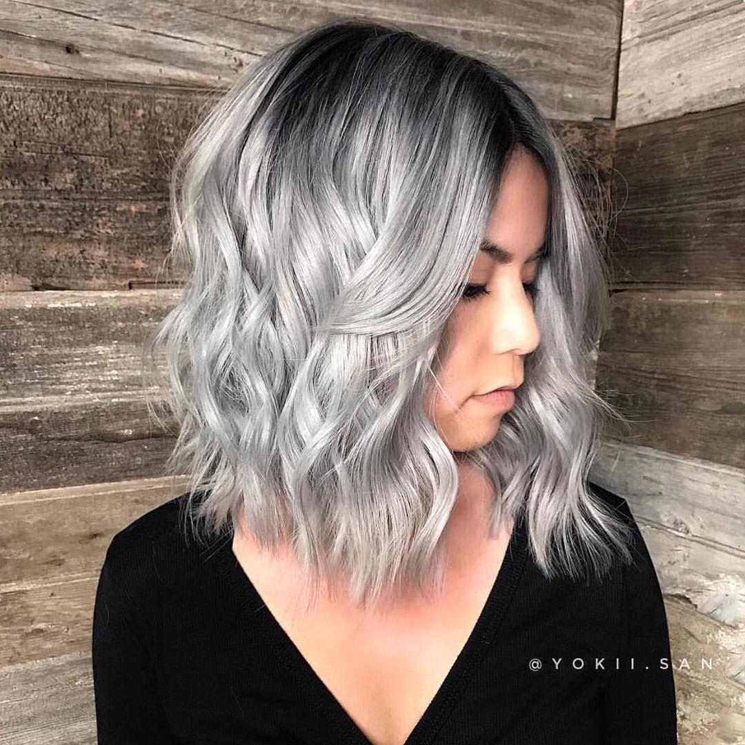 Love This Silver Belle Yokii San Americansalon Short Silver Hair Hair Styles Short Wavy Hair