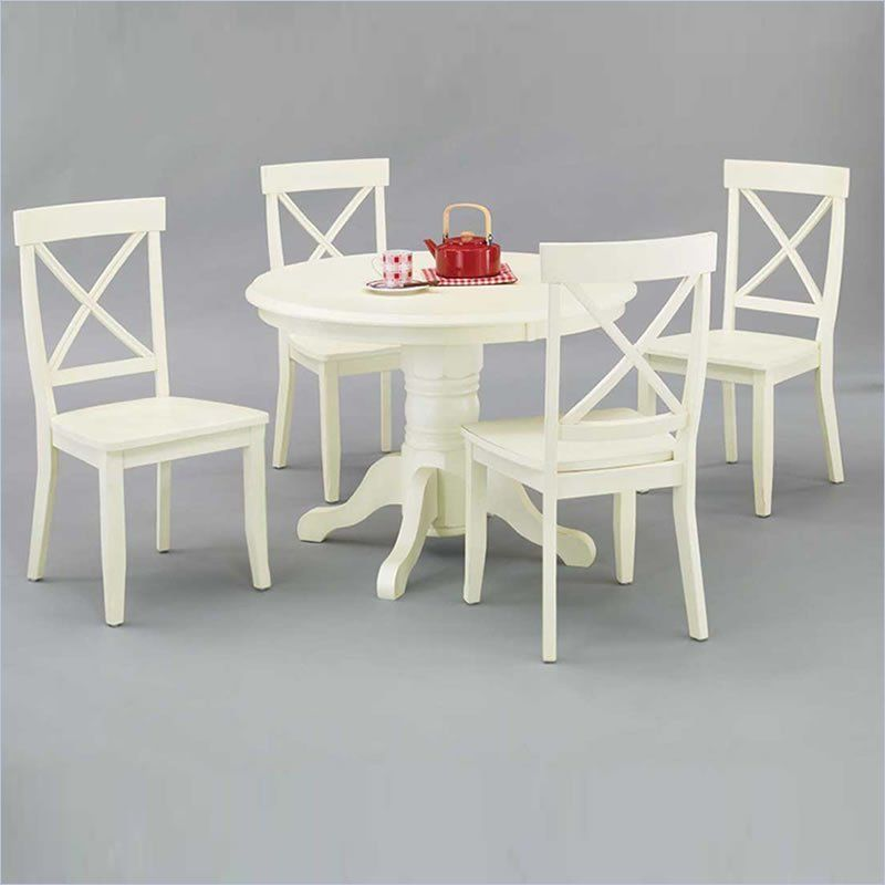 Home Styles Round Pedestal Antique Off-White Dining Table