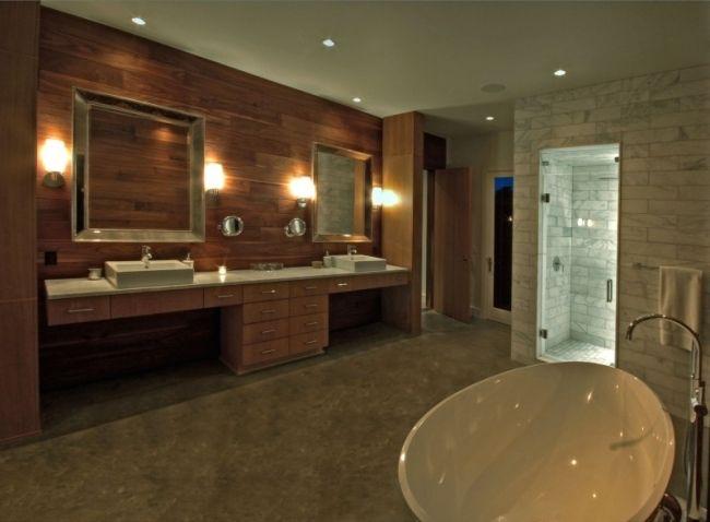 badezimmer fliesen begehbare Dusche Spiegel Wand-Verkleidung Holz - dusche strukturwand
