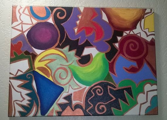 18x24 Acrylic Geometric Painting