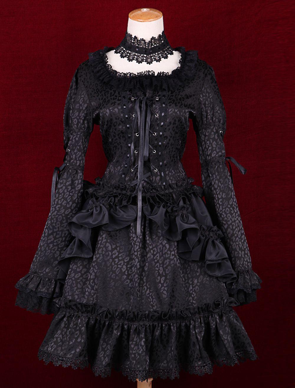 Black satin square neck long sleeves ruffles gothic lolita dress